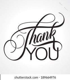 THANK YOU hand lettering, custom handmade calligraphy, vector (eps8)