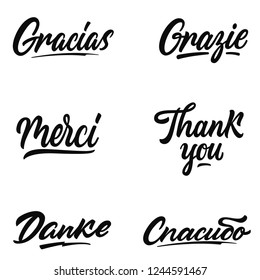 Thank you hand lettering in different languages: english, french, german, spanish, italian,russsian.Isolated on a white background.