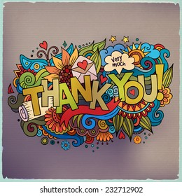 """""""Thank You"""" hand lettering and doodles elements background. Vector illustration"""