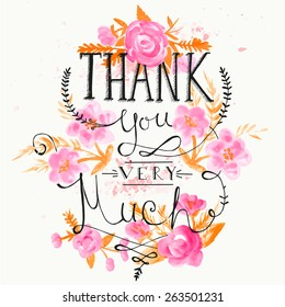 THANK YOU hand lettering with hand draw flower