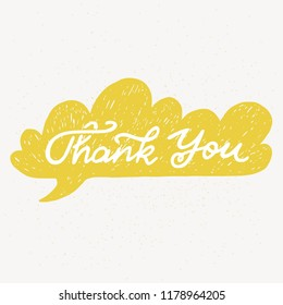 'Thank you' hand lettering. Fun doodle style typographic headline in yellow speech bubble.