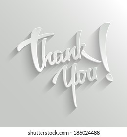 Thank You Hand lettering Greeting Card. Typographical Vector Background. Handmade calligraphy.