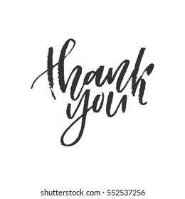 Thank you hand lettering. Ink dry brush. Vector illustration