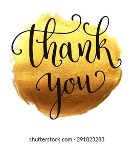 Thank you hand lettering on splash hand drawn abstract colorful golden textured background. Template for your design. Vector illustration