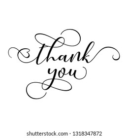 Thank you - Hand lettering typography text in vector eps 10. Hand letter script wedding sign catch word art design.  Good for scrap booking, posters, textiles, gifts, wedding sets.