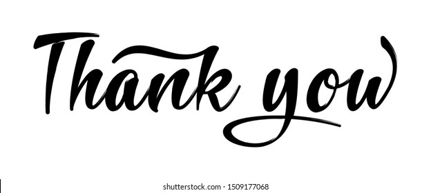 Thank You Hand Lettering, Typography Design Inspiration. Black On White Modern Hand Drawn Calligraphy For Thank You. Vector Illustration