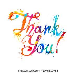 Thank You. Hand written vector doodle font inscription of splash paint letters