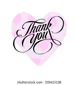 Thank you. Hand-drawn lettering in black color with pink heart. illustration on white background.