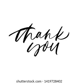Thank you handwritten ink pen vector lettering. Gratitude expression, polite saying. Thanksgiving greeting card, postcard decorative calligraphy. Thanks, polite phrase. Kindness appreciation
