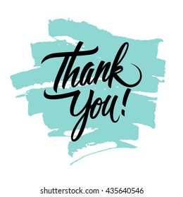 Thank You handwritten inscription with brush stroke. Hand drawn lettering. Thank You calligraphy. Vector illustration.
