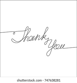 Thank You handwritten inscription. Hand drawn lettering. Calligraphy. One line drawing of phrase. Vector illustration