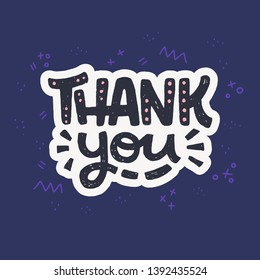 Thank You handwritten lettering message on navy blue background with doodle elements. Handdrawn thanking phrase for appreciation expression. Comic style typographic text for card, print, email. Vector