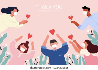 Thank you hero illustration in flat design. People with face masks sending gratitude to all the workers who work on the front lines during covid pandemic.