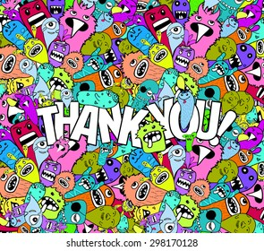 thank you hipster colorful background