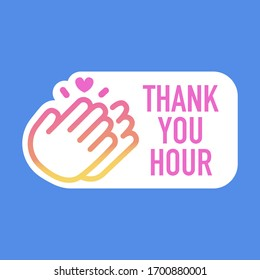 thank you hour sticker, story icon vector