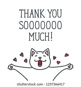 Thank You. Illustration of cute cat isolated on white background. Vector 8 EPS