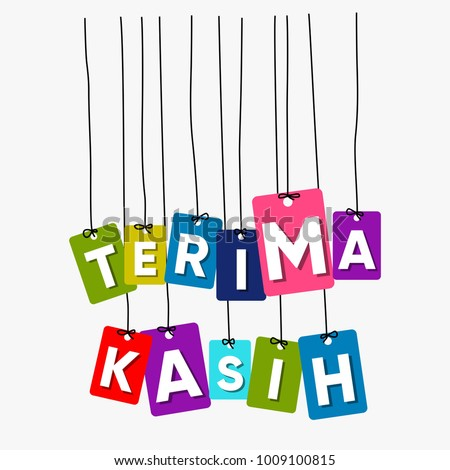 Thank You Indonesian Language Hanging Words Stock Vector Royalty