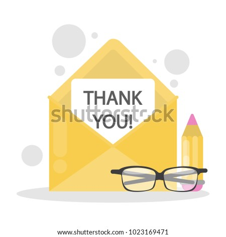 Thank you letter. Yellow envelope with pencil.