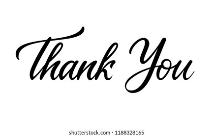 Thank you lettering card on white background. Calligraphy modern Vector illustration on white background