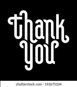 THANK YOU lettering -- custom typography, vector (eps8)