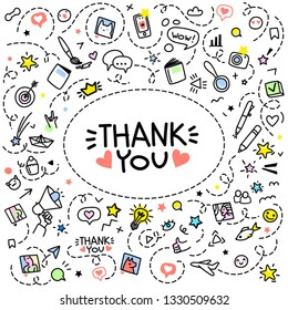 Thank You lettering. Doodle background with hand drawn icons. Blog concept. Line art, vector illustration