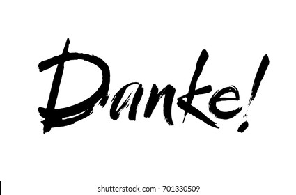 Thank you lettering in german. Danke Hand drawn vector phrase. Handwritten modern brush calligraphy for invitation and greeting card, t-shirt, prints and posters