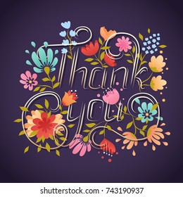 Thank You lettering greeting card. Lettering elements. Hand drawn botanical background with thank you note