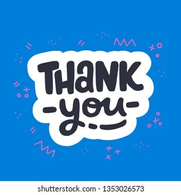 Thank you lettering inscription with white outline on the deep blue background. Cartoon style typography text decorated with cute doodle elements. Gratitude expression for card, ecard, poster. Vector