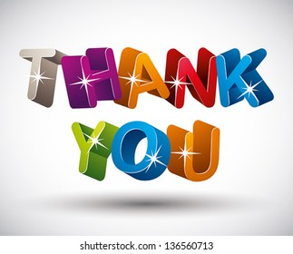 Thank you lettering made with 3d colorful letters isolated on white background, vector.