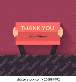 Thank You Lettering Signboard Hold Hand Flat Vector Design