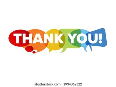 Thank you lettering template made from speech bubble. Thanks message for your page, with big letters thank you on colorful background shapes