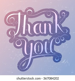 Thank you lettering vector illustration, trendy rose quartz and serenity colors background. Calligraphy inscription
