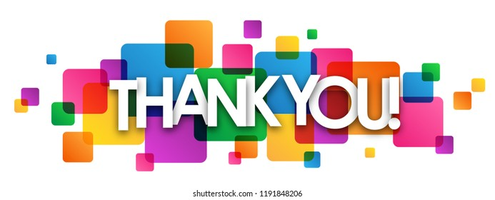 THANK YOU! letters banner on colorful squares