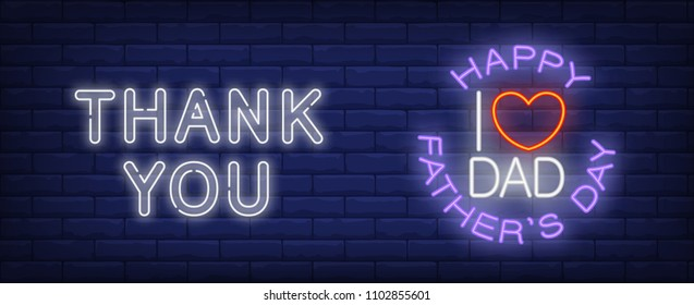 Thank you, I love you dad vector illustration in neon style. Text and red heart shape on brick wall background. Night bright design, banner, sign. Family and fathers day, concept