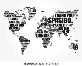 Gracias en muchos idiomas World Map in Typography word cloud, multilingüe para educación o día de acción de gracias