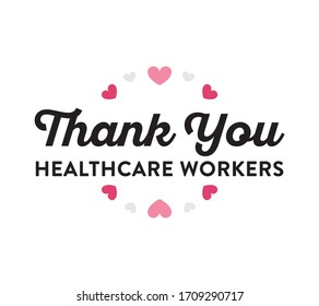 Thank You Medical Healthcare Workers Banner Sign, Appreciation, Vector Illustration Background