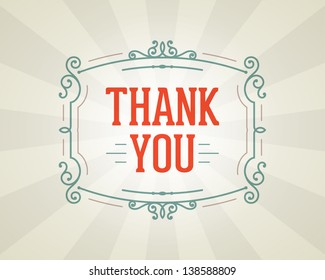Thank you message and antique frame design element