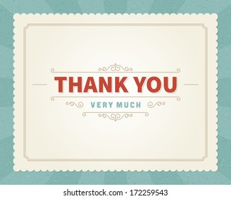 Thank you message card retro lettering typography. Vector background.