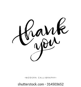 Thank you. Modern brush calligraphy. Handwritten ink lettering. Hand drawn design elements.