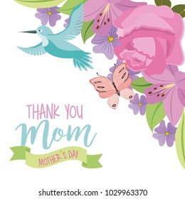 thank you mom mothers day fly bird and butterfly flowers ornament