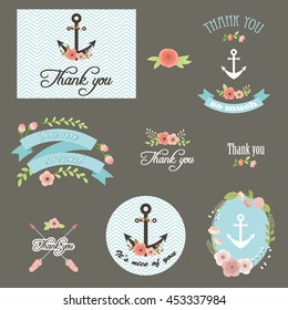 Thank you notes. Lettering with flowers and anchors. Vector icons/tags/labels set.