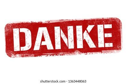 Thank you on german language ( Danke ) sign or stamp on white background, vector illustration