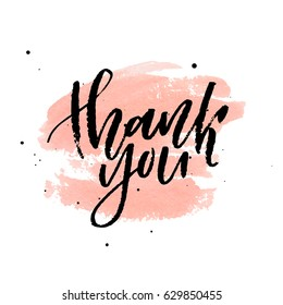 Thank you on peach watercolor stain. Vector illustration