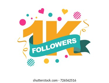 Thank you one thousand followers card. Vector thanks design template for network friends and subscribers