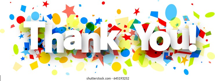 Thank you paper background with colorful confetti. Vector illustration.