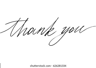 Thank you phrase quote calligraphy handwritten black text isolated on white background, vector. Each word is on the separate layer