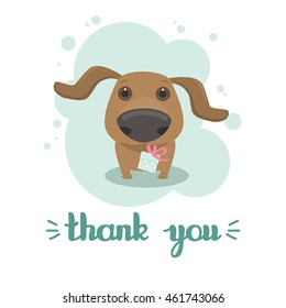Thank you post card with a dachshund puppy holding a small wrapped gift box in its mouth. a single composition in a light blue frame on a white background. Vector illustration.