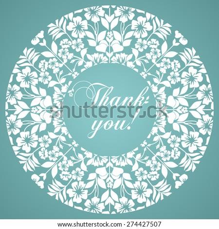 Thank You Postcard Floral Designs Circle Stock Vector Royalty Free