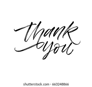 Thank you postcard. Greeting card. Ink illustration. Modern brush calligraphy. Isolated on white background.