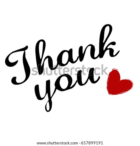 Thank You Postcard Hand Drawn Heart Stock Vector Royalty Free